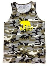 NW Men's Printed BEER? Deer Bear Camo Camouflage Funny Hipster MMA Army Tank Top