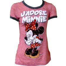 Disney Womens Fashion T-Shirt Minnie Mouse Jadore Red