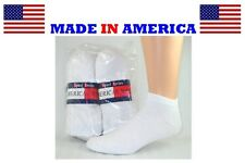 Men's White Solids bama No Show Socks Size 10-13 Shoe size 8-11 Made in USA