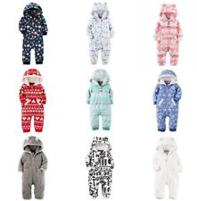 NWT Carters Infant GIRL's Fleece Hoodie Jumpsuits Coveralls Hooded Pram 3-24 Mo.