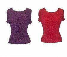 Ladies Solid Red or Purple (U Choose) Short Sleeved Popcorn Shirt (XS to XL)