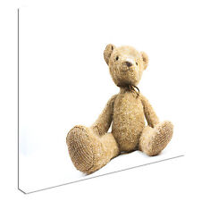 Cute Teddy Bear Isolated On White Background Canvas Wall Art prints high quality