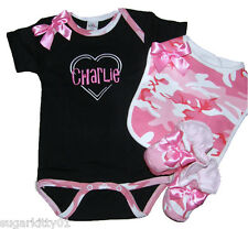 Personalized Baby Girl Black & Pink Camouflage Onezee, Bib & Booties Set Fre Shp