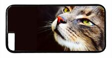 Cat Face Cute Print Apple iPhone Models Black Snap On Case Rubber or Hard Cover