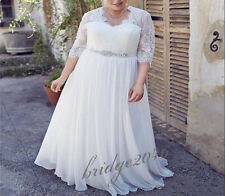 New Plus Size White/Ivory Wedding Dress Bridal Gown Chiffon Beach Wedding Dress