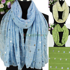 Fashion Women's Chiffon Scarf Sequin Striped Long/Infinity Scarf Ladies Scarves
