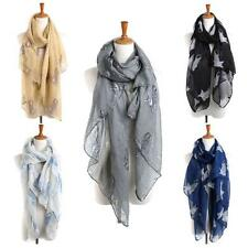 Summer Fashion Women Scarf Cat Animal Print Scarf Voile Scarves Wrap Shawl Stole