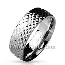 FAMA 8mm Stainless Steel Pyramid Cut Surface Classic Dome Ring Band Size 9-13