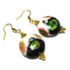 Black & White Glass Gold Plated Earrings Vintage Style Drop PIERCED CLIPS STUDS