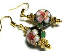Black Cloisonne Earrings Vintage Style Gold Plated PIERCED, CLIP ON, STUDS