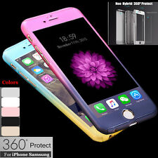 360 Full Body Thin Shockproof Hard Case Cover+Tempered Glass For iPhone Samsung