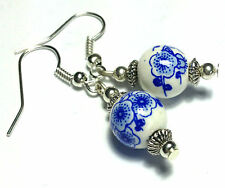 Blue Chinese Porcelain Earrings Silver Plated, Hooks, Clip-On, Butterfly Studs
