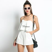 Stylish Women Off Shoulder Sleeveless Ruffles Short Pocket Jumpsuit Playsuit US