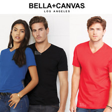 BELLA UNISEX T-SHIRT V-NECK TEE TOP 100% SOFT COTTON COLOUR LADIES MEN'S BASIC