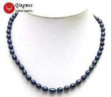 "SALE small 6-7MM Rice BLACK Natural Freshwater PEARL 17"" NECKLACE-nec5591"