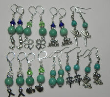 Handmade, Gemstone Magnesite Turquoise Charms Dangle Fashion Pierced Earring