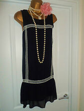 1920s Style Art Deco Gatsby Flapper Charleston Dpwnton Lace  Dress Size 16