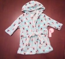NWT Infant Girls Plush Hooded Fleece Bath Robe Owl Print 0-9 Months by Baby Kiss