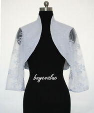 Satin Shrug white ivory lace Jacket Stole Bolero Wedding Evening Dress lace