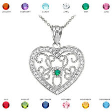 14k White Gold Filigree Heart Diamond and Personalized Stone Pendant Necklace