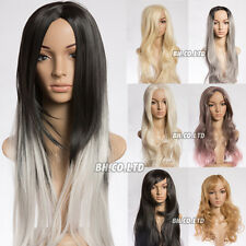 Fashion Womens Long Straight Curly Synthetic Hair Ombre Silver Grey Wig Cosplay