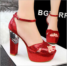 Sexy Women Snake Skin Strappy Platform Block Transparent Heel Shoes Sandal L281