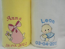 Personalised Baby Blanket Lovely soft fleece in a choice of 5 colours