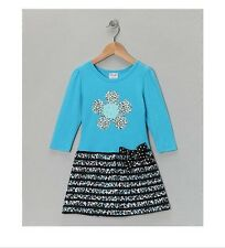 NWT Toddler Girls 3T 4T Blue Black White Leopard Knit Long Sleeve Casual Dress
