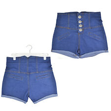 Ladies Blue High Waisted HotPants Stretch Shorts Denim Jeans SI