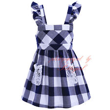 Baby Girls Dress Children Casual Cotton Plaid Lace Christening Communion Party