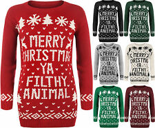 New Womens Mens Merry Christmas Ya Filthy Animal Ladies Xmas Knitted Jumper 8-14