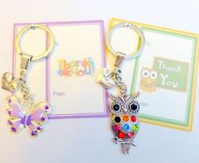 Thank You Gift of Quality Keyring with Butterfly or Owl Charm and gift Card