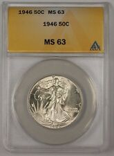 1946 Walking Liberty Silver Half Dollar Coin ANACS MS-63 (2)