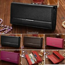 Wallet Purse Clutch Women PU Leather Lady Zipper Checkbook Organizer Black GT56