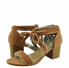 Women's Shoes Bamboo Premium 04S Tie-up Chunky Heel Open Toe Sandal Camel *New*