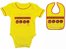 OFFICIAL BEATLES YELLOW SUBMARINE BABY GROW BODY SUIT & BIB BOYS GIRLS ALL SIZES
