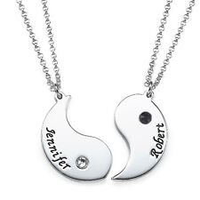 Engraved Yin Yang Necklace in Sterling Silver - Set of Two