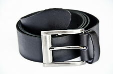 Black Thin Laminated Cow-Hide Leather Belt 40mm Width