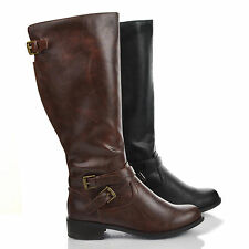 Equestrian Biker Riding Boots Tall Knee high  Shoes Women