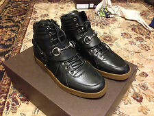 Gucci High Top Lace up Sneaker horsebit and harness detail Black Leather NEW