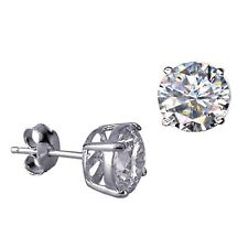 Genuine Solid 925 Sterling Silver Round Cubic Zirconia Stud Earrings THE BEST