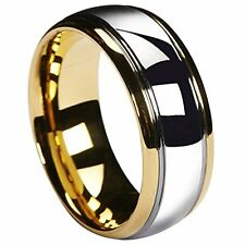 Wedding Band Tungsten Carbide 8mm Gold Silver Dome Gunmetal Bridal Ring Jewelry