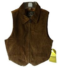 KC Collection Juniors Genuine Leather Vests with collar, D. Brown