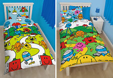Mr Men Kids Single Duvet Quilt Cover Reversible Bedding Set Choice Of 2 Designs