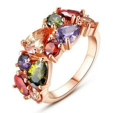 Women's Colorful Zircon Crystal Wedding Party Fashion Ring Rose Gold US-6/7/8/9