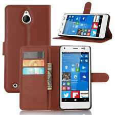 Bracket PU Leather Flip Case Soft Card Wallet Back Cover For NOKIA Lumia Phone