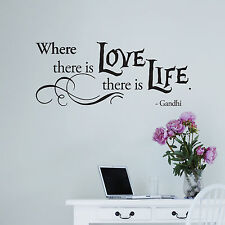 Where there is Love there is Life Gandhi Vinyl Wall Quote Decals