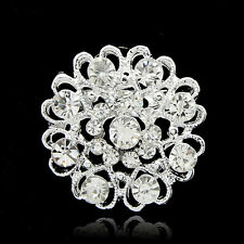 Jewelry Rhinestone Silver Plated Crystal Wedding Brooch Pin Flower Bouquet Gifts