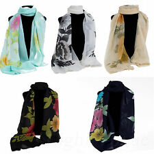 Women's Girl Flowers Chiffon Soft Scarves Long Wraps Shawl Beach Scarf Stole 64e