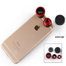 1 Set 3in1 Fisheye Wide Angle + Macro Camera Clip on Lens iPhone 6S Smart Phone